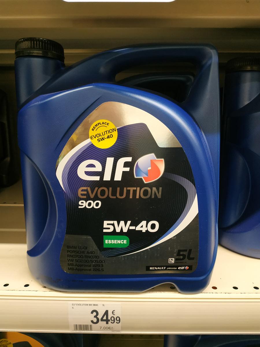 huile de vidange Elf évolution